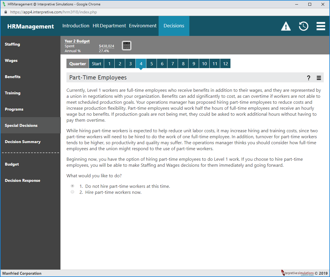 Human Resource Management simulation